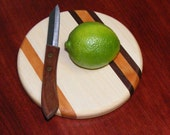 Mini Round Cutting Board. Trivet.  Maple or Cherry.  Free Shipping