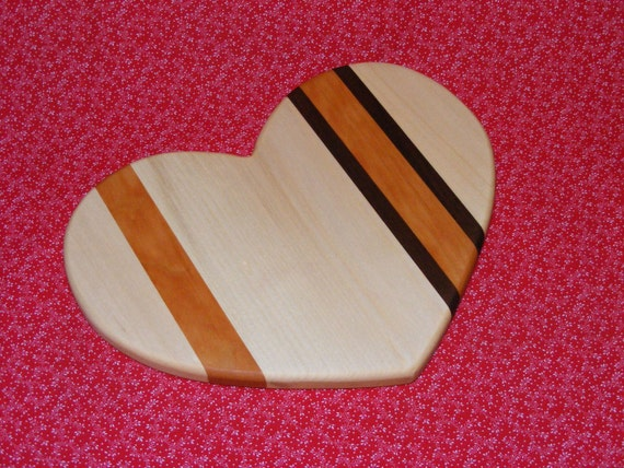Heart Shaped Cutting Board Trivet.  Valentine Gift.  Free Shipping