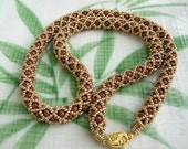Goldstone Woven Bead Necklace In X and O Rope Pattern - 24 Inches
