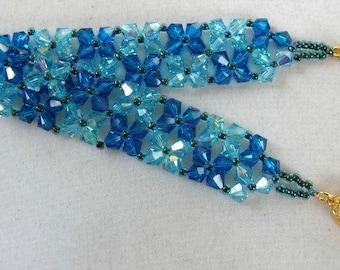 Blue Crystal Flower Bracelet Woven Beads - Swarovski Elements