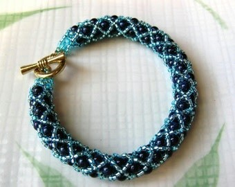 Blue XOXO Woven Bead Bracelet - Sodalite and Seed Beads