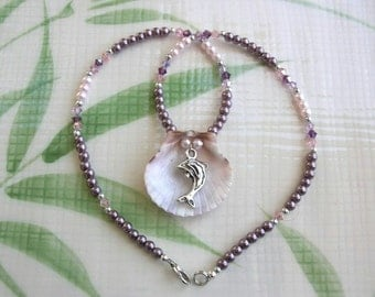 Dolphin Charm and Seashell Beaded Necklace - Reversible Pendant