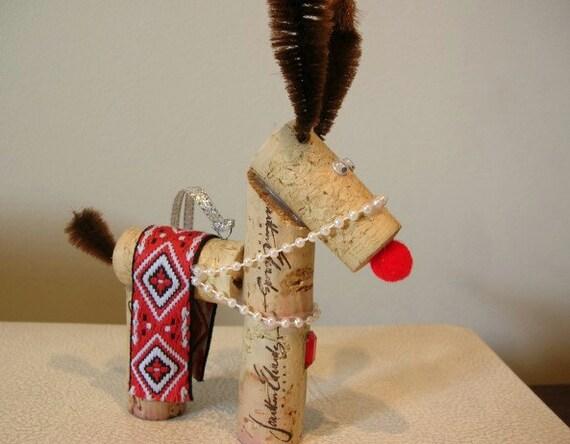 Wine Cork Reindeer Ornament Rudolph