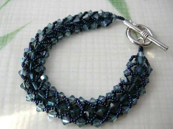 Blue Crystal Woven Bead Bracelet (Long) - Swarovski Elements