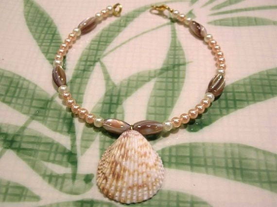 Seashell Anklet With Beads: Ankle Bracelet Beach Jewelry
