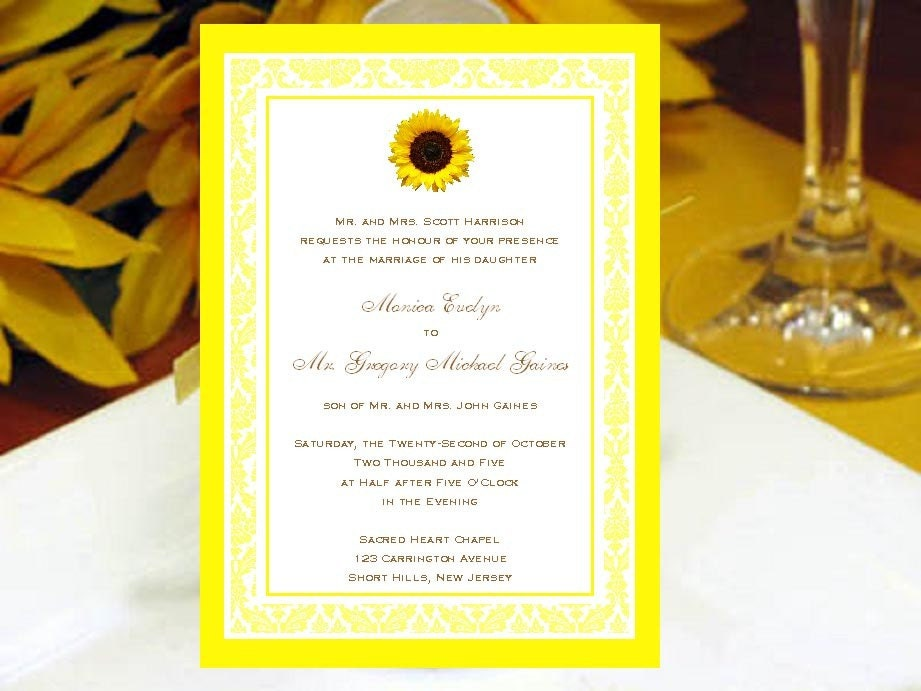 Cheap Sunflower Wedding Invitations: SUNFLOWER Country Yellow Rustic INVITATIONS By Shadow090109