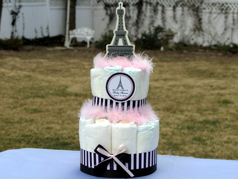 pink poodle in paris themed diaper cake by shadow090109 on etsy