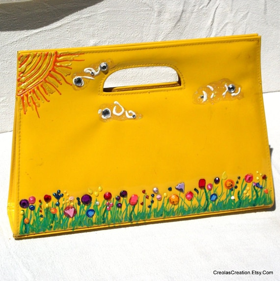 Jeweled Sunshine and Flowers YELLOW PATENT  LEATHER Clutch and Shoulder Strap Purse