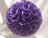 "5""  Deep Purple Rose Pomander - Wedding Decoration - Flower Girl"