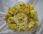 Wedding Bouquet with Peonies, Ranunculas and Roses with Boutonniere