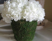 Wedding Centerpiece - Moss Vase  with White Hydrangea Flowers for Your Wedding Table Centerpieces - Home  Decor