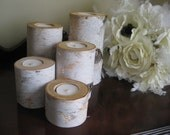 "Birch  Tea Light  Candle Holders Set of 5- 6"",5"",4"",3"" and 2""  for your Wedding  Centerpieces Home Decor Bridal Shower"