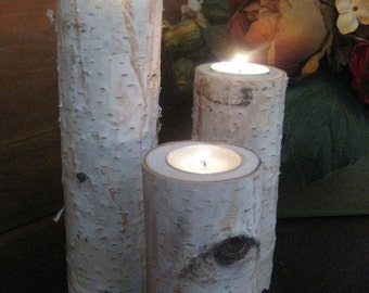 "3  Birch Bark Log Tea Light Candle Holder 10"",8"",6"" Wedding Centerpieces Bridal Shower"