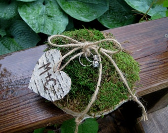 Rustic Personalized Birch Bark Tree Slice Moss Ring Bearer Pillow