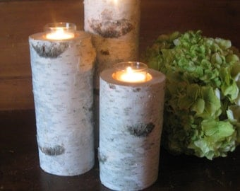 "Birch  Votive Candle Holders, 8"",6"",4""  Wood  Candle, Wedding Centerpieces, Christmas Holiday Decor, Bridal Showers, Garden Party"