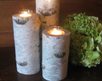 "12"",10"", 8"" Beautiful Birch Bark Tall Votive CandleHolders  Wedding Centerpieces, Bridal Showers, Garden Party"