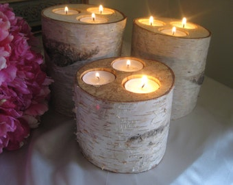 """Birch Candle Holders Wedding  Centerpieces 6"""",5"""",4"""" Tall  Home Decor Bridal Shower Decor"""