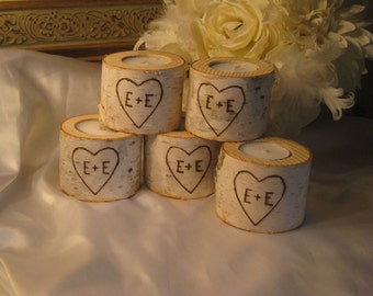 """15  - 3"""" Personalized Birch Candle Holders for Weddings, Bridal Showers, Garden Party"""