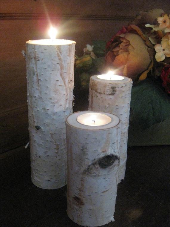 "3  Birch Bark Log Tea Light Candle Holder 10"",8"",6"" Wedding Centerpieces Bridal Shower"