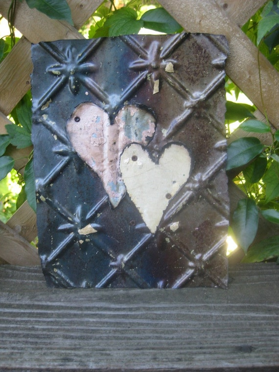 Rustic Vintage Ceiling Tile with Two Hearts - Wedding  Gift - Birthday- Anniversary