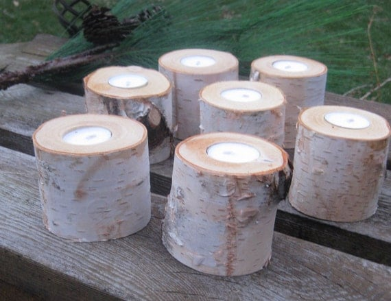 """10  - 3"""" Birch Candle Holders for Weddings, Bridal Showers, Garden Party"""