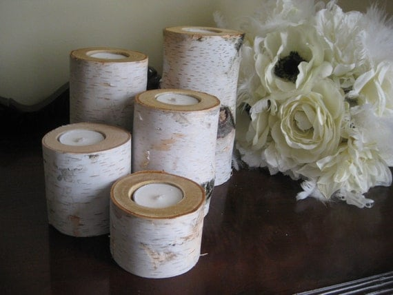 """Birch  Tea Light  Candle Holders Set of 5- 6"""",5"""",4"""",3"""" and 2""""  for your Wedding  Centerpieces Home Decor Bridal Shower"""