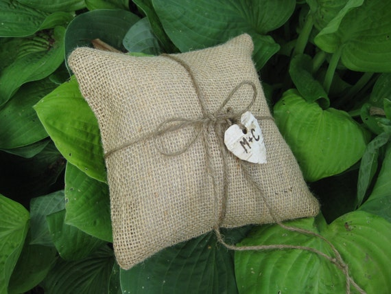 Personalized  Rustic Burlap Ring Bearer Pillow with Twine and Birch Heart
