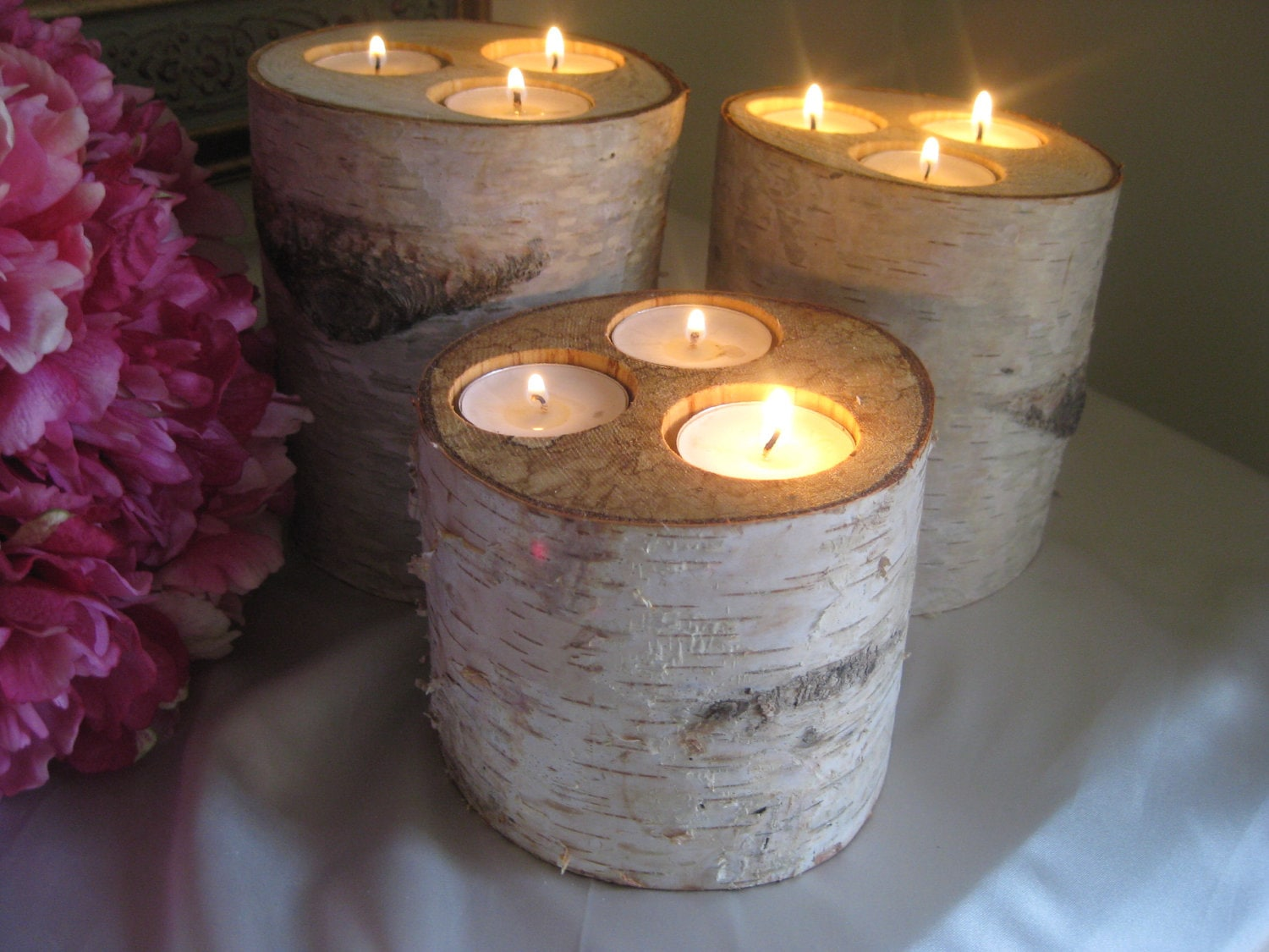 Custom Wedding Accessories 3 Large Birch Candle Holders For Your