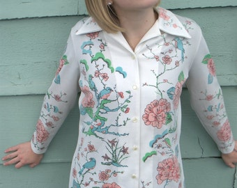 vintage white and floral print blazer blouse button-up shirt
