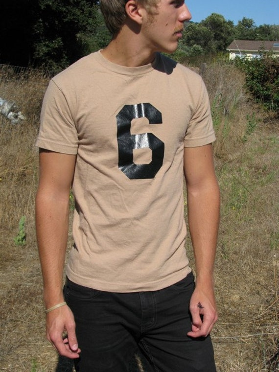 vintage brown 6 9 block letter t shirt mens small