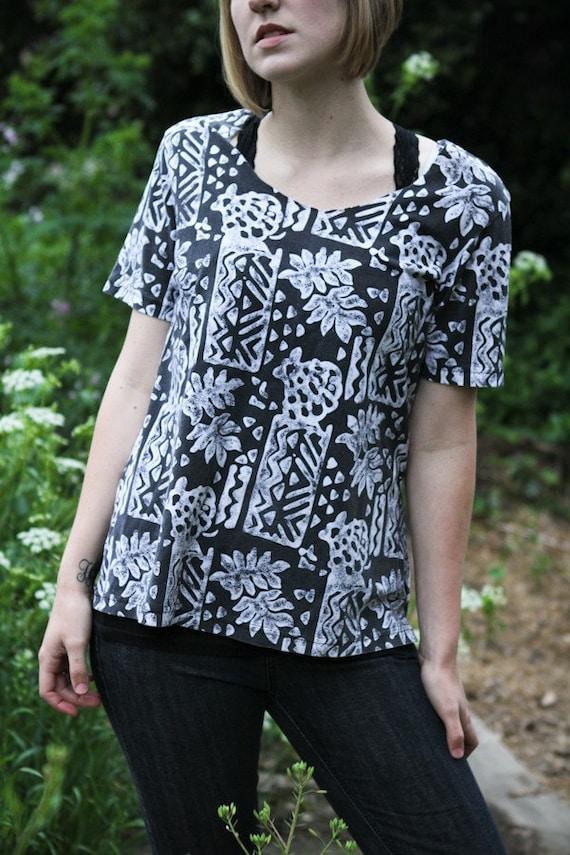 vintage aztec patterned shirt, womens oversized blouse sm med SALE
