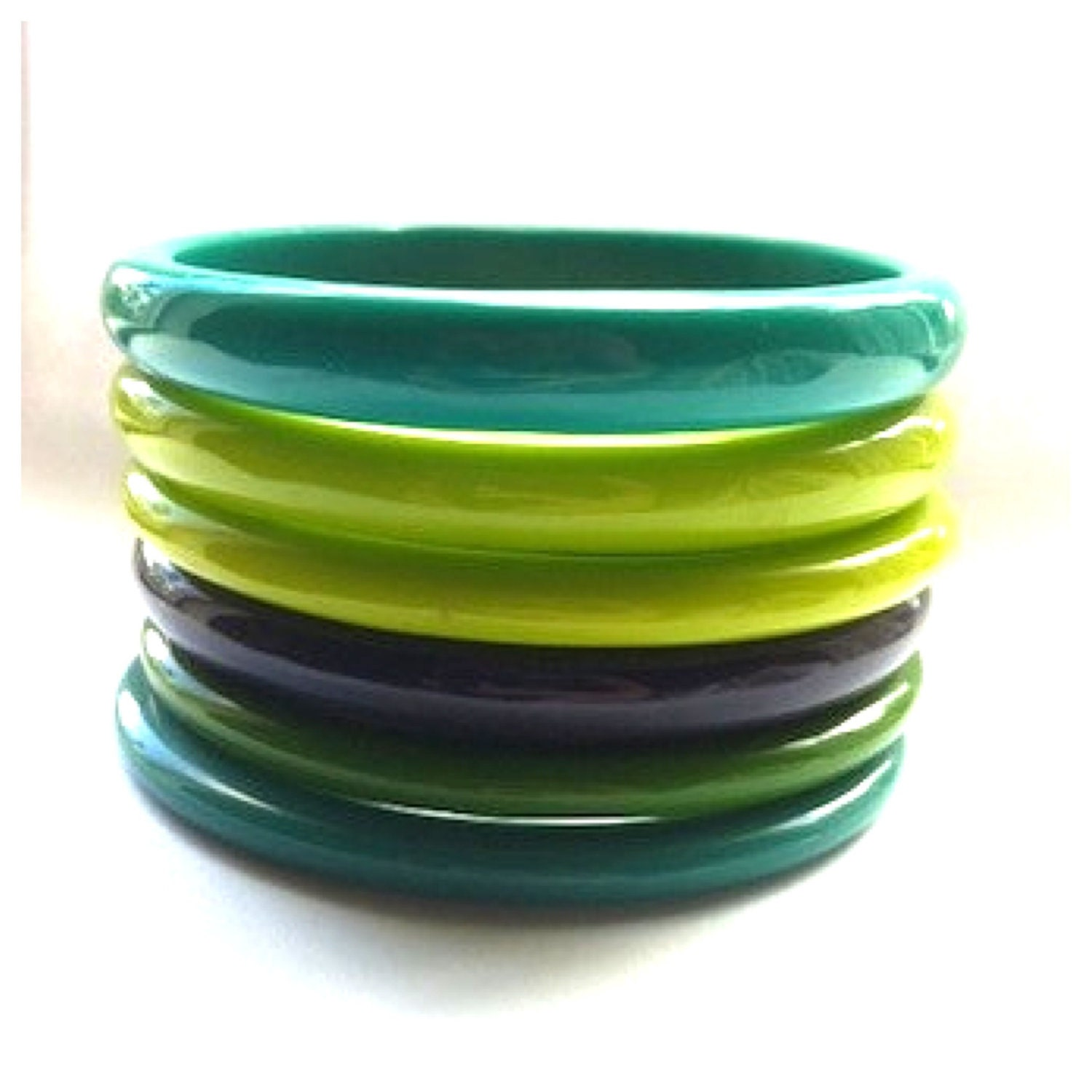 plastic bangle bracelets vintage jewelry set of 6 green and