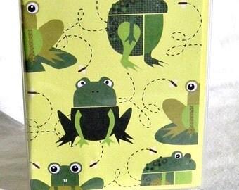 Frog passport holder, green and yellow passport wallet, women's travel wallet, passport cover, kid's travel wallet, id holder in vinyl case
