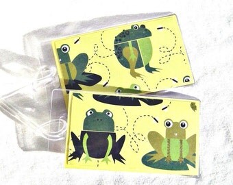 Frog luggage tags, yellow and green id tags, identification travel accessory, kids travel tags, luggage hang tags in vinyl cases - set of 2