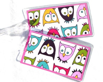 Owl luggage id tags, kid's travel tags, women's travel tags, travel accessory, set of 2 luggage tags, backpack tags, multicolored id tags