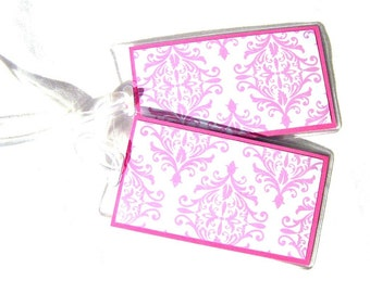 Pink damask luggage tags, set of 2 id tags, women's bag tags, travel tags, luggage accessories, identification tags in vinyl cases