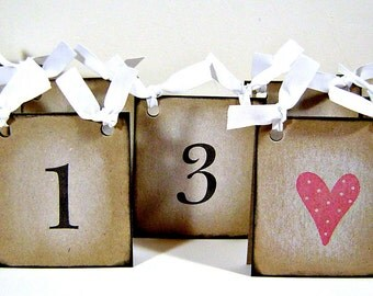 Heart number cards, wedding table numbers, rustic Valentine's Day themed table numbers, vintage inspired bridal shower tents, set of 10