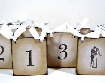 Wedding table number cards, vintage inspired rustic black and white table numbers, set of 10 reception table tents dual sided, place cards
