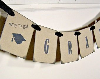 Graduation banner decoration, vintage inspired grad sign, graduation party decor, grad garland, cap and tassel sign (Made to order)