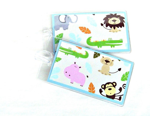 Kid's luggage id tag, zoo animals travel tags, kid's suitcase tags, baby's travel tag, backpack id tags, 2 jungle animals luggage tag