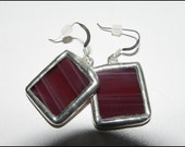 Stained Glass Burgundy Earrings, Silver