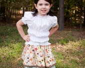 Girls Beige Brown and Blue Floral Double Layer Twirl Skirt