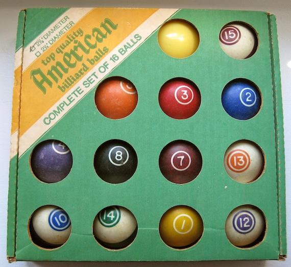 vintage billiard BALLS full set of 16 in original box