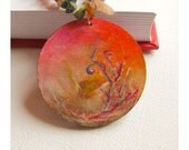 We are Free to Dream - wooden acrylic painted necklace with serpentinite and jasper