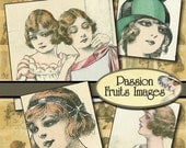 Young women of the 1920's Digital Collage Sheet- inchies-- Instant Download