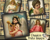 Antique Angels inchies1 inch squares Digital Collage Sheet-- Instant Download