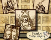 Alice in Wonderland  Sepia Toned 1inch Square Inchies  Digital Collage Sheet--instant Download