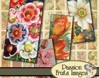 Victorian Flowers Bamboo Tiles Digital Collage Sheet-- Instant Download