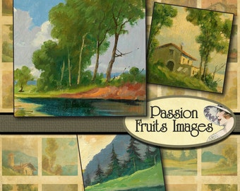 "Italian Landscape Paintings 1"" Square Digital Collage Sheet"
