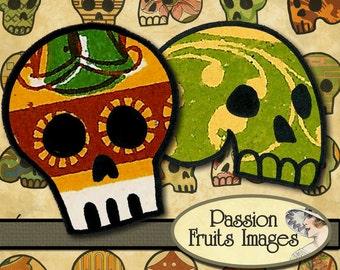Sugar Skull Inchies no.2 Digital Collage Sheet--Instant Download
